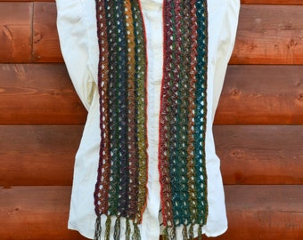Crochet Scarf, Handmade, Broomstick Lace - Green/Brown/Multi