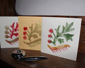 Unique, handmade Post Cards, FLOWERS, set of 4, with envelope
