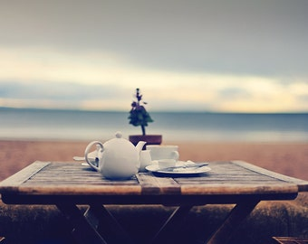 Promenade Tea, original fine art photography, print, landscape, north sea, nature, 8x12,  water, table, scotland, cup,sand, edinburgh, beach