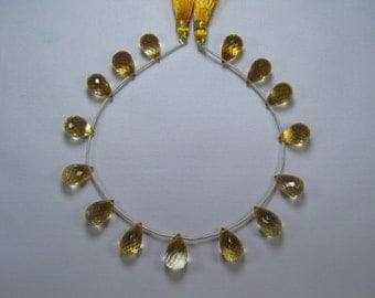 Citrine Faceted Drops Briolette Bead Strand