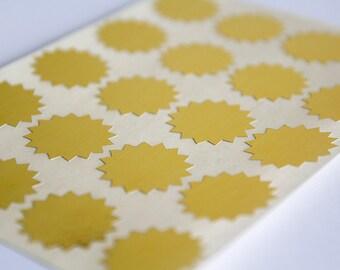 40 gold sticker, starburst sticker, round paper sticker, circle label, letter envelope seal, self adhesive bag seal gift packaging 1 inch