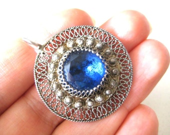 Handcrafted round blue gemstone sterling silver 925 pendant