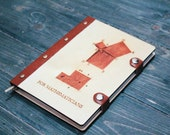 Notebook Wood Cover Leather with Metal Ring Binder Sketchbook A5 «For Mathematicians»