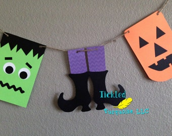 Halloween Banner with Frankenstein, Witches' Feet, Pumpkins, and Ghosts!