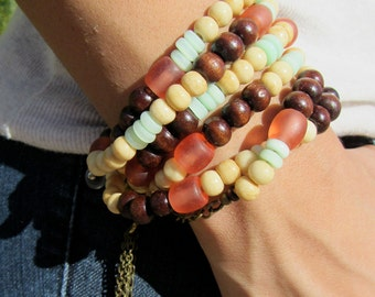 Pastel beaded 2 in 1 necklace/bracelet