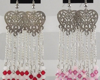 Heart Earrings with Swarovski Crystals