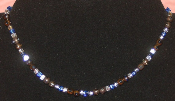 Blue Metallic Beaded Choker
