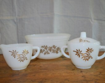 Vintage FEDERAL GLASSWARE Cream and Sugar SET. Matching Bowl. Great Gold Pattern.