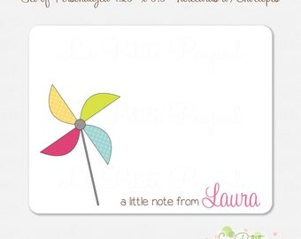 """10 Personalized 4.2"""" x 5.5"""" Note Cards - Thank You Cards - Pinwheel - kids notecards"""