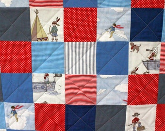 Belle and Boo Boys red and blue quilt featuring 'Pirate Games' and 'Paper Planes' fabrics