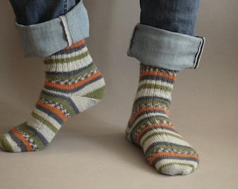 Socks for family. Knitted socks. Striped socks