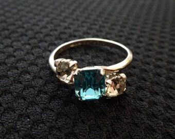 1950s sterling silver ring, rhinestone jewel gem stone  9 1/2  9.5