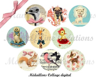 """Digital collage sheet animals, digital images """"Sweet Animals"""", one inch circle, bottlecap,digital rounds, instant download"""