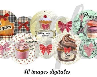 Digital collage sheet Sweet Cupcake macaron, 1 inch circle design for pendant, scrapbooking, bottle cap, printable collage instant download.