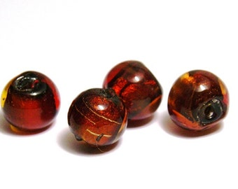 5x Round Silver Foil Glass Beads 10mm - Red