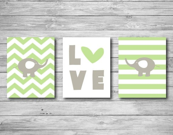 Art Wall Jr Green Jacket : Baby nursery print elephant chevron love set of three