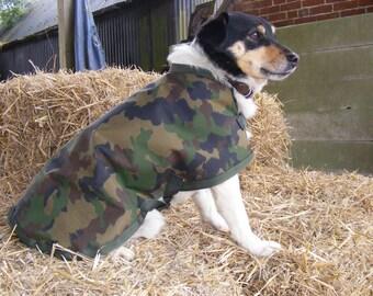Waterproof Dog Coat, Fleece Lined - Camouflage