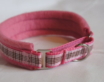 Fleece Lined Martingale Dog Collar - Raspberry Check - 50mm Width