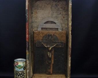 Japanese Hidden Christian's Crucifix Cross Christ in Samurai Edo Era 18c Antique
