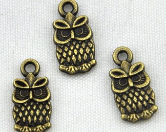40pcs of Antique Bronze Lovely Owl Charm Pendants---7*14mm-----G474