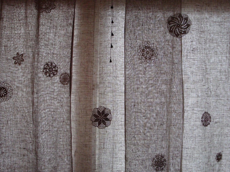 leinen vorhang panel mit h keln fenster behandlung heim und. Black Bedroom Furniture Sets. Home Design Ideas