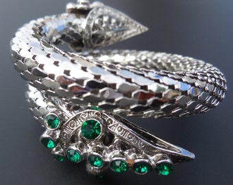 Vintage Emerald Rhinestone Jeweled Rhodium Snake Bracelet Silver Mesh 2 Coils Double Headed