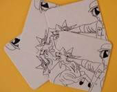 Punching Unicorn Handprinted Coasters 4pk