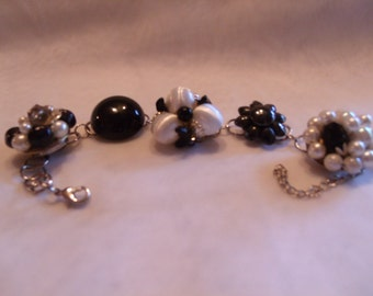 vintage upcycled black and white clip earring bracelet