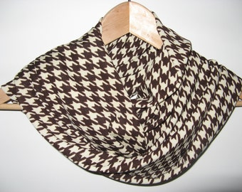 Dark Brown Cream Houndstooth Knit Inifinity Scarf Wrap