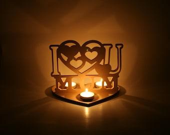 I love U MUM/MOM - tea light holder - Mother's Day gift