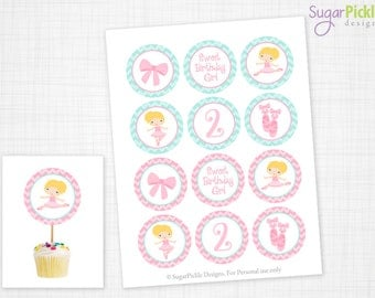 Ballet Cupcake Toppers, 2nd Birthday, Ballet Birthday Toppers, Ballet Toppers, Ballet Party Decorations - 2.25 inch