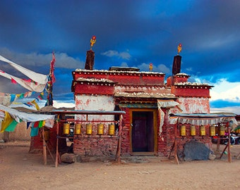 Buddhist temple, sunset, Tibet, landscape photography, fine art print, 20x11.25 panorama, home decor, wall art
