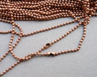 25 pcs (Copper) 70cm, 1.5mm Ball Chain Necklaces