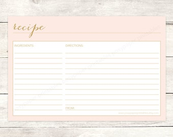 recipe card bridal shower printable DIY blush pink gold glitter wedding shower shower digital accessories - INSTANT DOWNLOAD