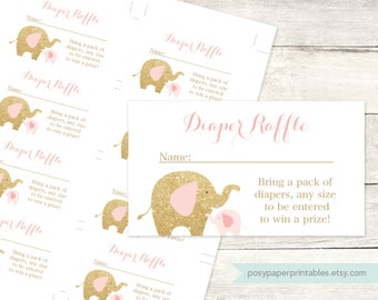 diaper raffle tickets printable baby girl shower DIY elephants pink gold glitter cute baby digital shower games - INSTANT DOWNLOAD