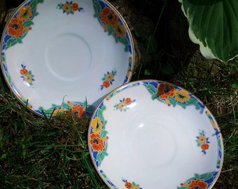 Colorful Floral Saucers by J&G Meakin  Set of Two