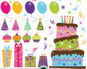 """Birthday Party Clip Art, """"Birthday CLIP ART"""" pack,Party Digital Clipart,Balloon,Cup Cake printables, invitations, digital scrapbooking Pt009"""