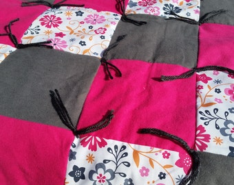 Pink & Gray Floral Patchwork Quilt