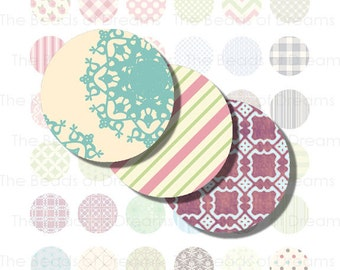 1 inch circle round 25mm shabby chic digital image - Printable digital collage sheet - pdf png jpeg INSTANT DOWNLOAD - cs0191