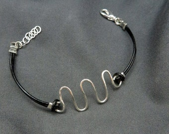 Silver Squiggle -- Sterling silver and leather cord bracelet