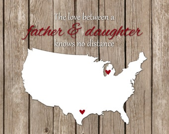 Personalized Father's Day Gift Long Distance Father's Day Print Custom Gift Dad Grandfather Daughter Father's Day Personalized Map Heart
