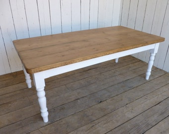 Rustic Farmhouse Kitchen Table, Reclaimed Country Cottage Farmhouse Dining Table Painted Legs