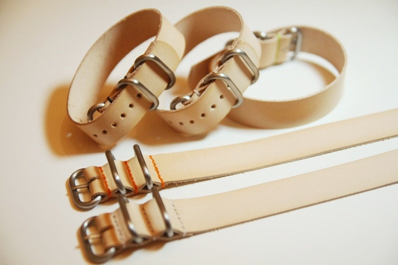 20mm Amp 22mm Leather Round Ring Watch Strap Handmade