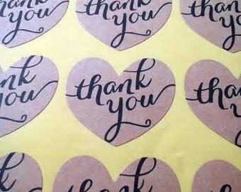 Heart Thank you sticker - brown Kraft paper seal
