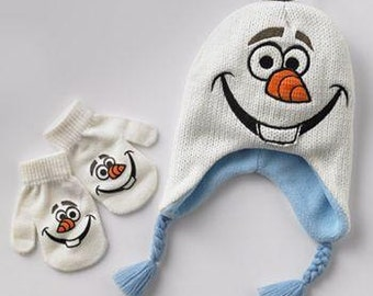 Disney Frozen Olaf Knit Earflap Hat & Mittens Set - Toddler - Personalized
