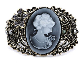 Antique-Style Cameo Cuff Bracelet