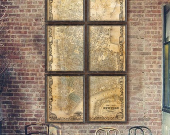 """Map of Manhattan 1852, Large Vintage Manhattan map, 6 sizes up to 48x90"""" (120x225cm) New York in 1 or 6 parts - Limited Edition - Print 24"""