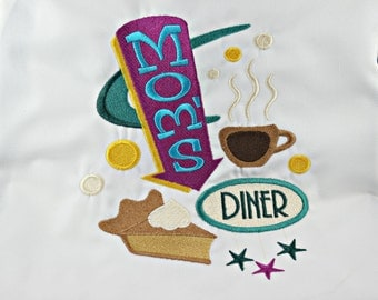 Mom's Diner Embroidered Apron with Pockets