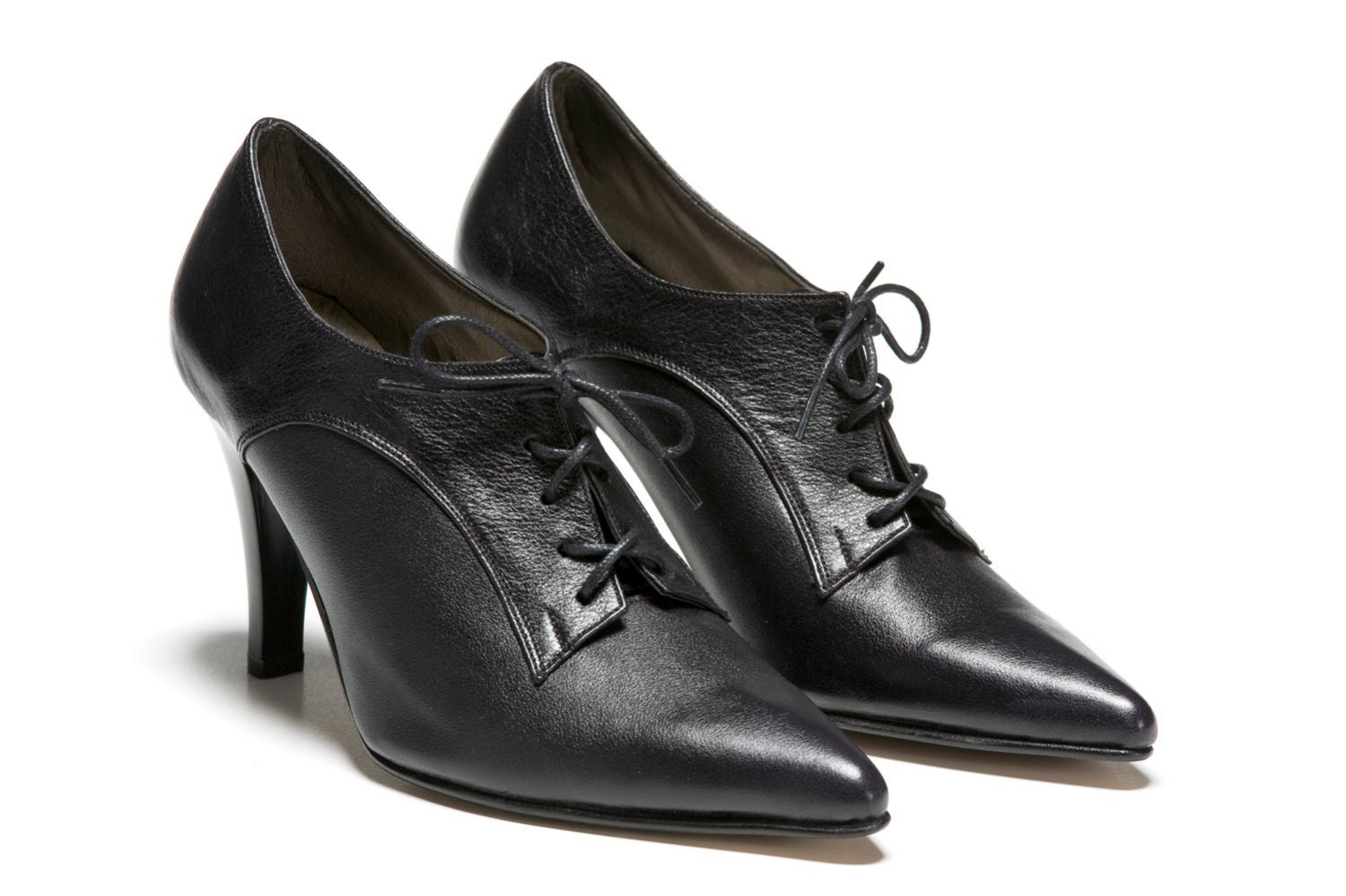 heisenberg womens leather shoes black high heel lace up tie