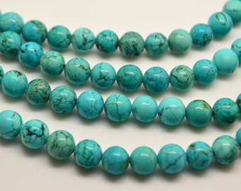 15 Inch Blue Turquoise 8MM  Round Bead